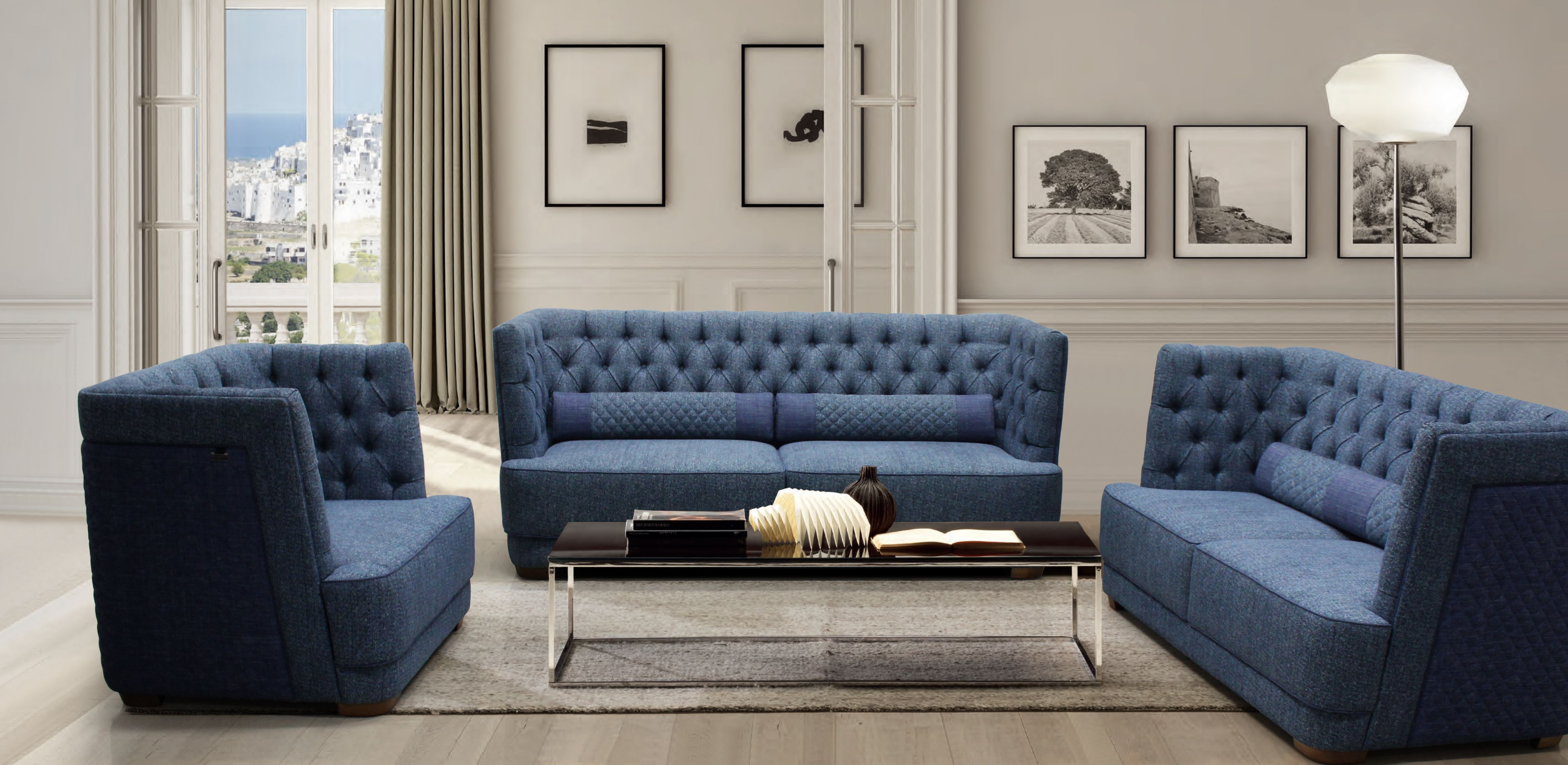 Dynamic Chesterfield Modern 123 Seater Fabric Sofa Sofa Sofa Furniture Fabric Sofa