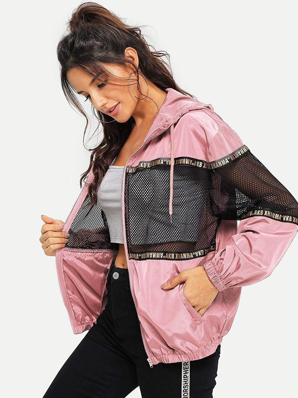 Milumia Women Drawstring Hooded Jackets Zipper Crop Tops Sporty Windbreaker