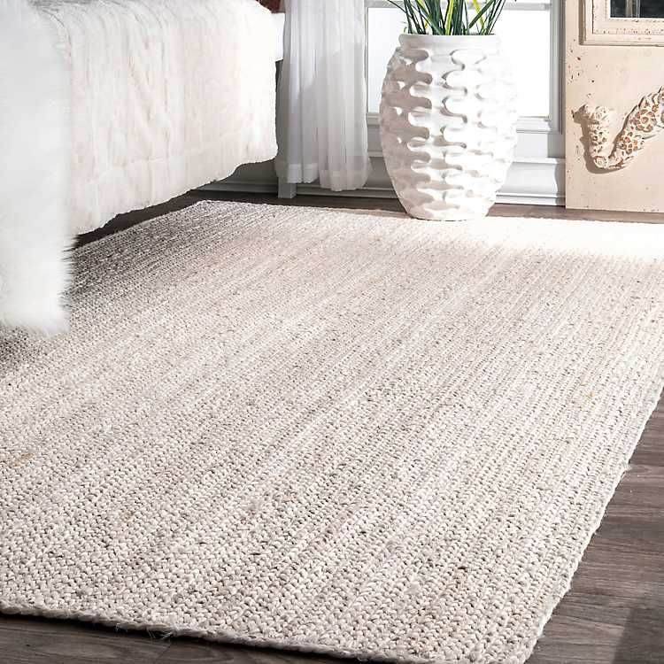 White Woven Reno Area Rug 8x10 With Images Braided Jute Rug