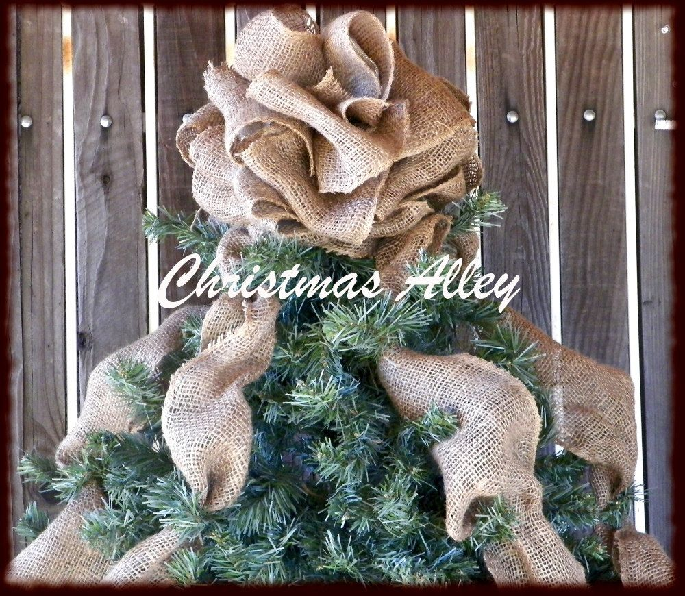 burlap christmas tree topper rustic christmas pinterest tree toppers burlap and burlap. Black Bedroom Furniture Sets. Home Design Ideas