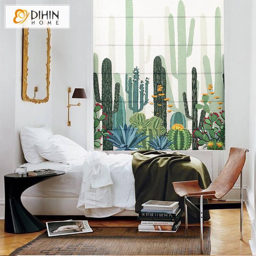DIHIN HOME Desert Cactus Printed Roman Shades ,Easy
