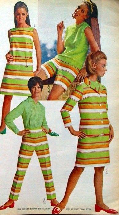 1960s Fashion Green Orange Stripe Dress Pants Suit Mod Shoes Hair