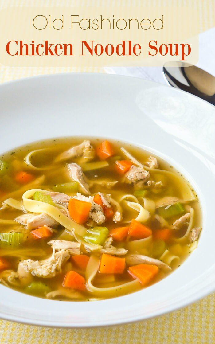 old fashioned chicken noodle soup  with a deep rich