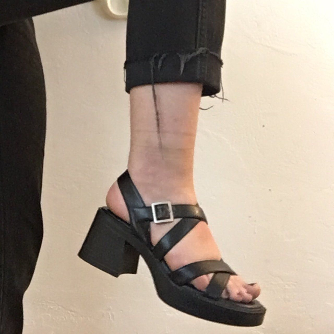 c55381e623be chunky heel 90s strappy faux leather sandals serve tsunade realness w these  babies!! sooo cute n they go w everything