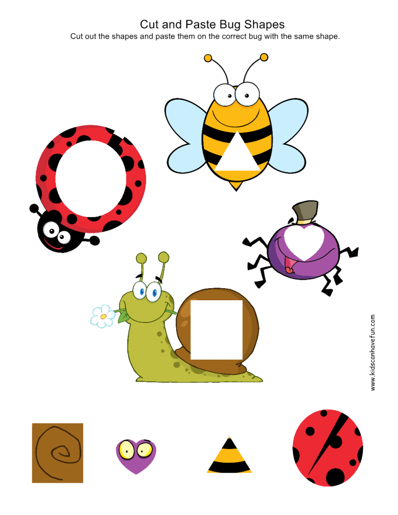 cut and paste bug shapes worksheets activities and teaching shapes