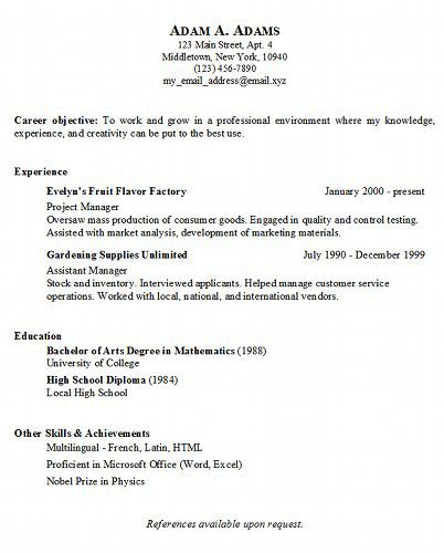 sample simple resumes