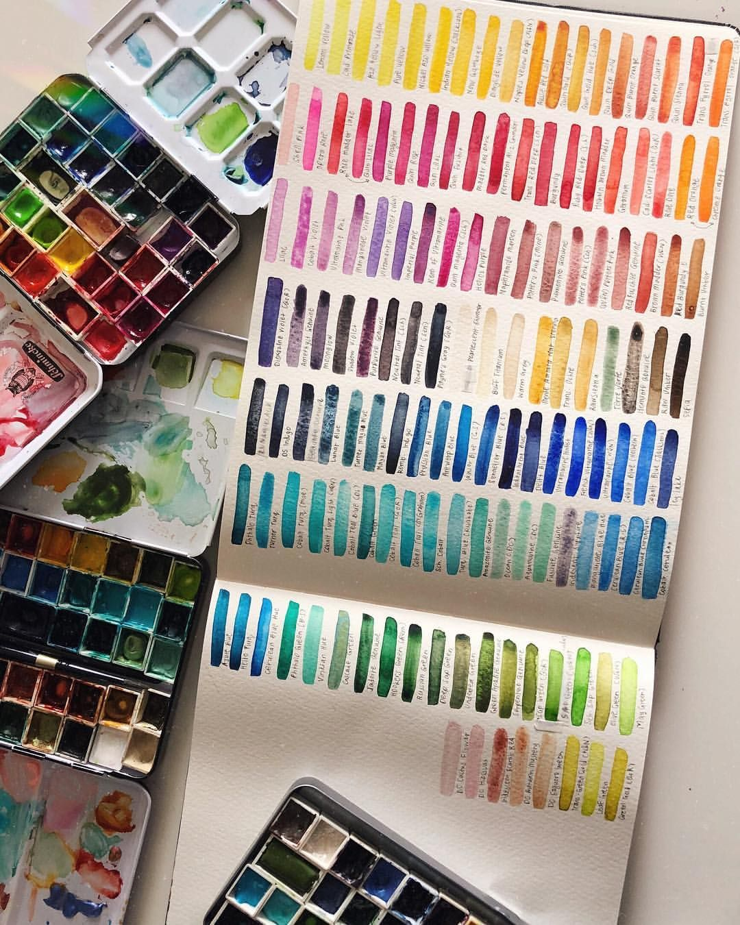 A Swatchlist Of Almost All My Watercolour Paints I Could Never