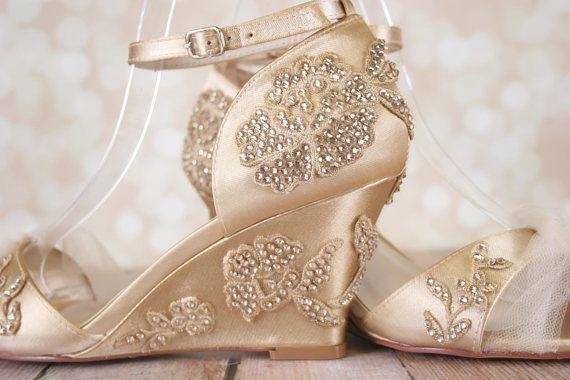 Champagne Wedding Shoes Vintage Wedding Art Deco Wedding Etsy Wedding Shoes Vintage Custom Wedding Shoes Crystal Wedding Shoes