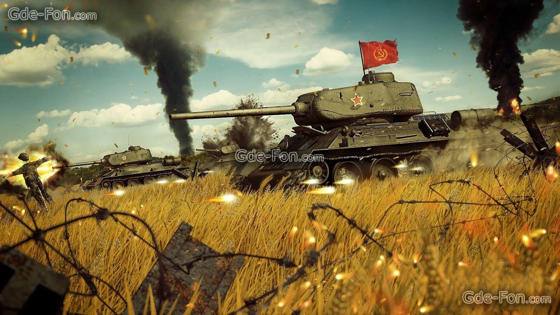 Download wallpaper Red Army, Soviet medium tank during