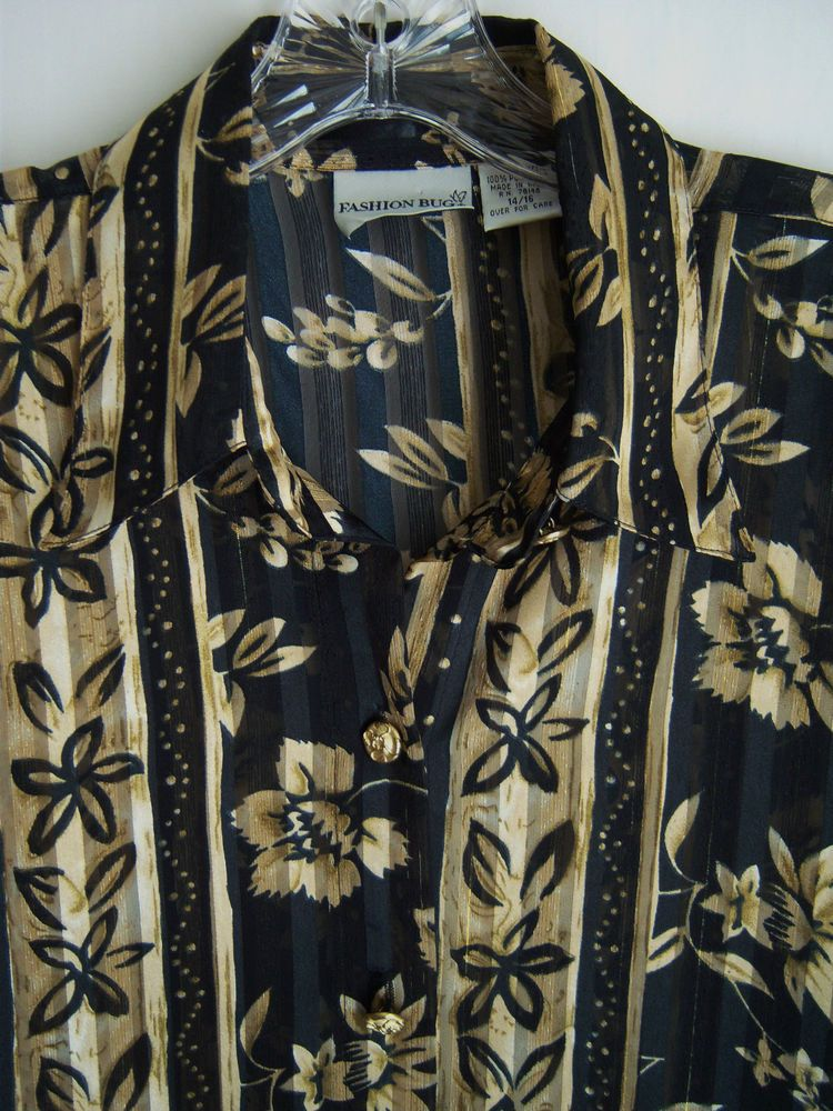 Wmn's Fashion Bug 14/16 Blouse Black with Gold Floral Long Sleeves Polyester #usedwomenswear