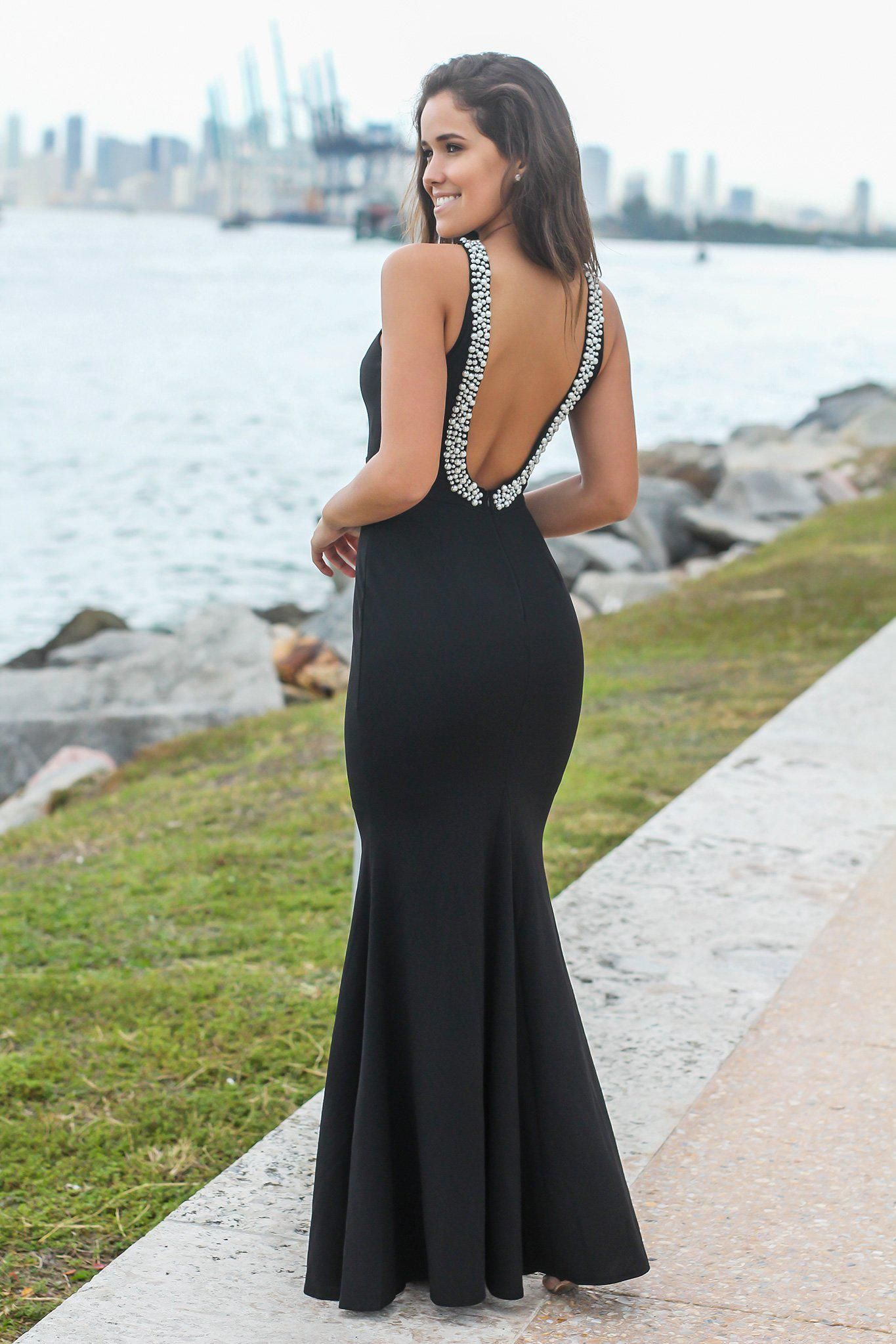 Black maxi dress with open back and pearl detail love it