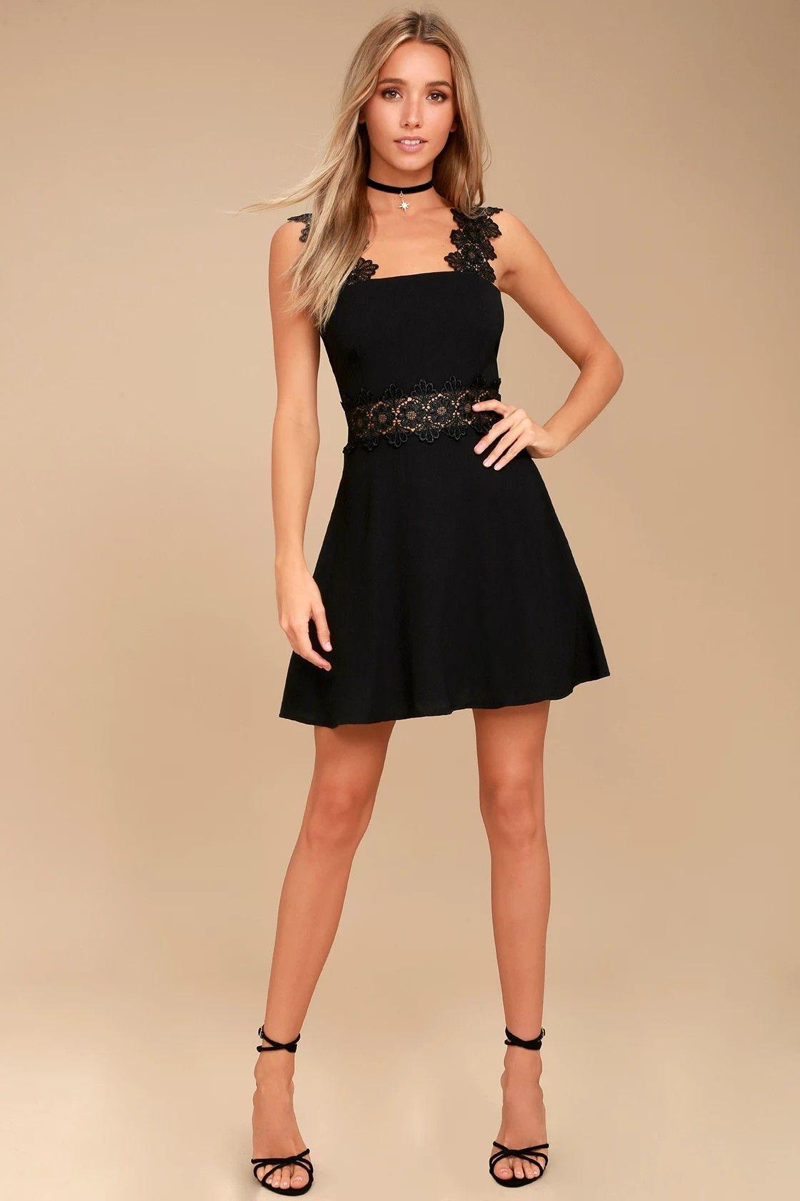 Black lulus visual treat lace skater dress cosas lindas
