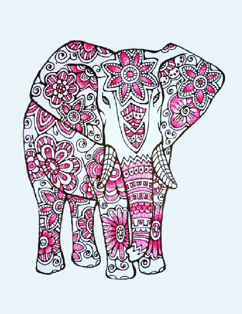 Elephants -3 Adult Coloring Pages: Instant Digital Download ...