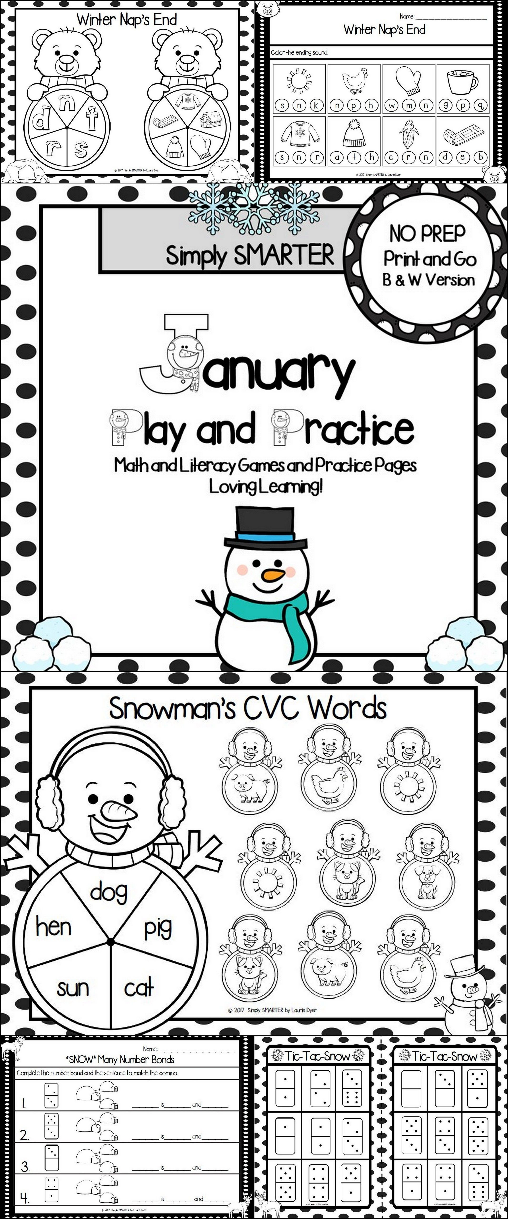 January Play And Practice No Prep Math And Literacy Games And Practice Pages