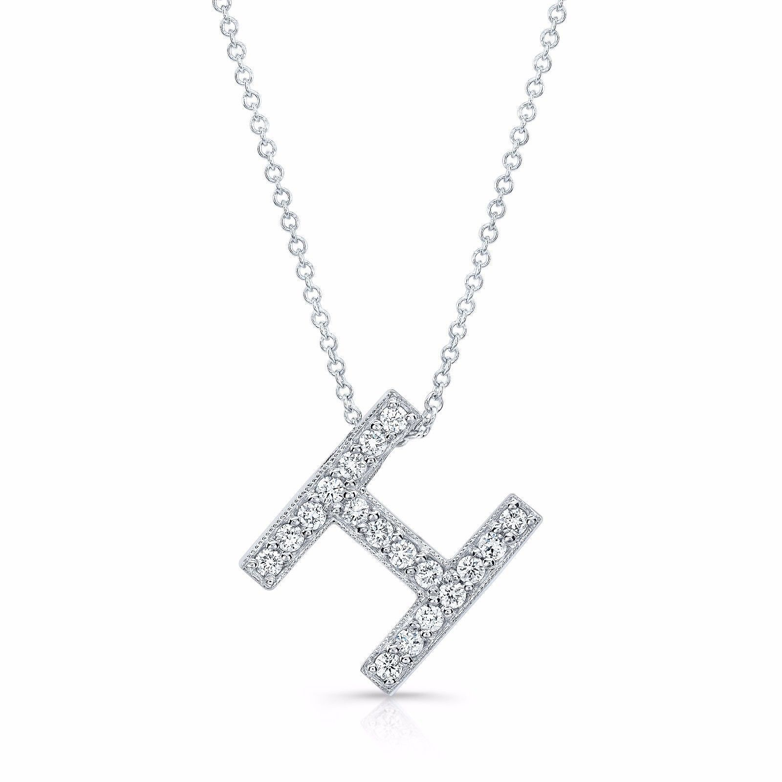 Initial Letter L Pendant 14K Solid Yellow Gold 1//5ct Round Created Diamond Charm