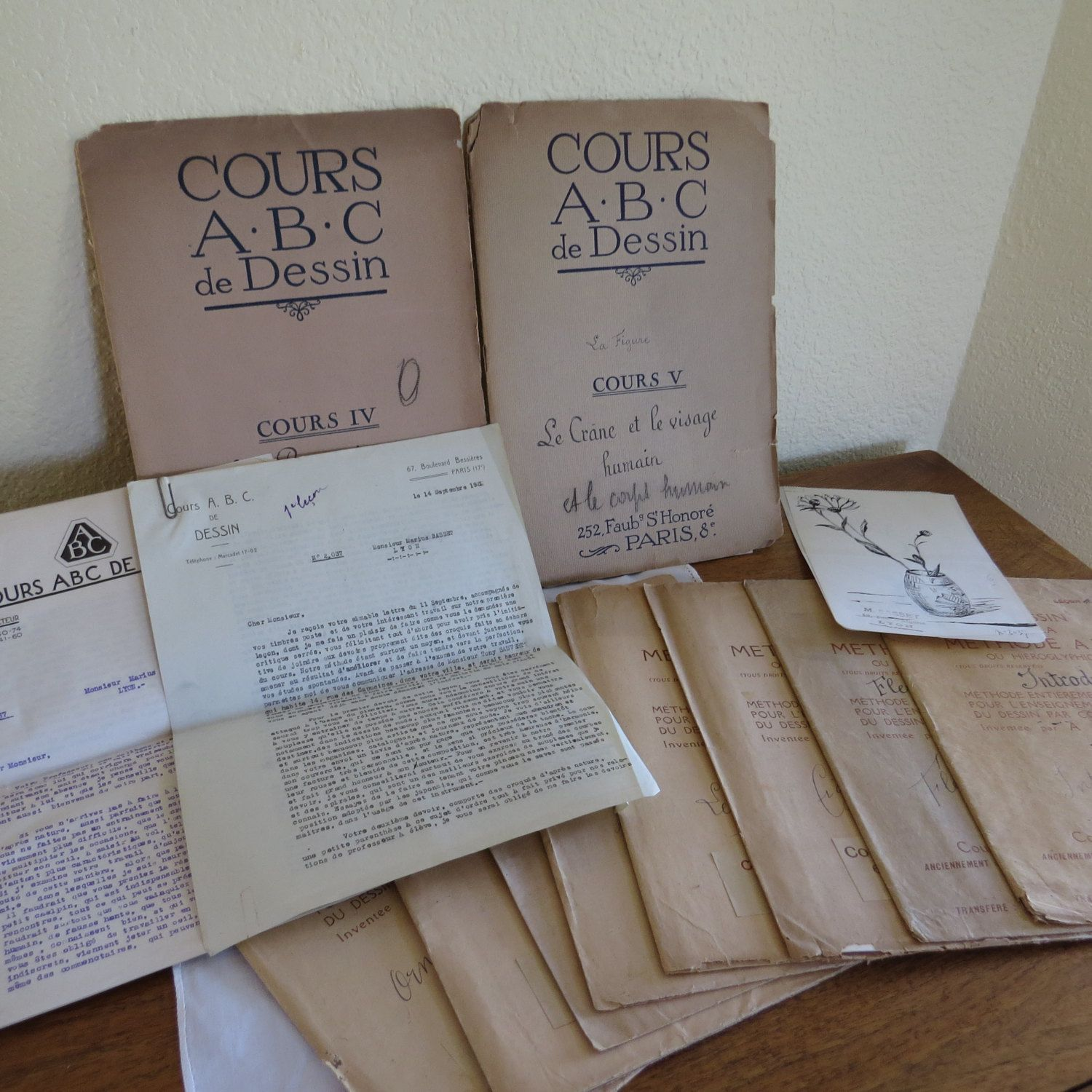 Vintage French Booklets Courses on Drawing 7 Lessons