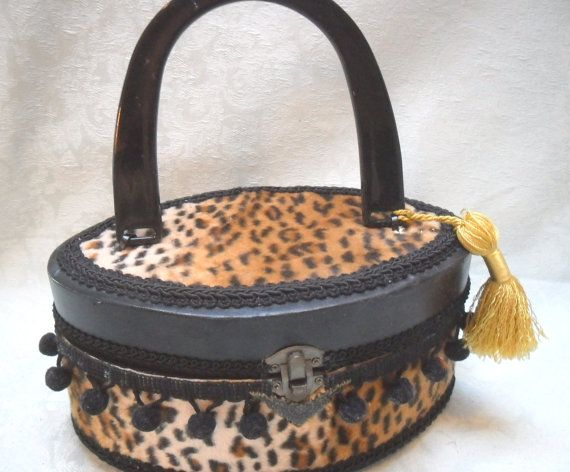 PURSE Retro look Box Purse Leopard  Old Stock  Black by pinkpurse, $36.00  Use Coupon code and get 10% off!