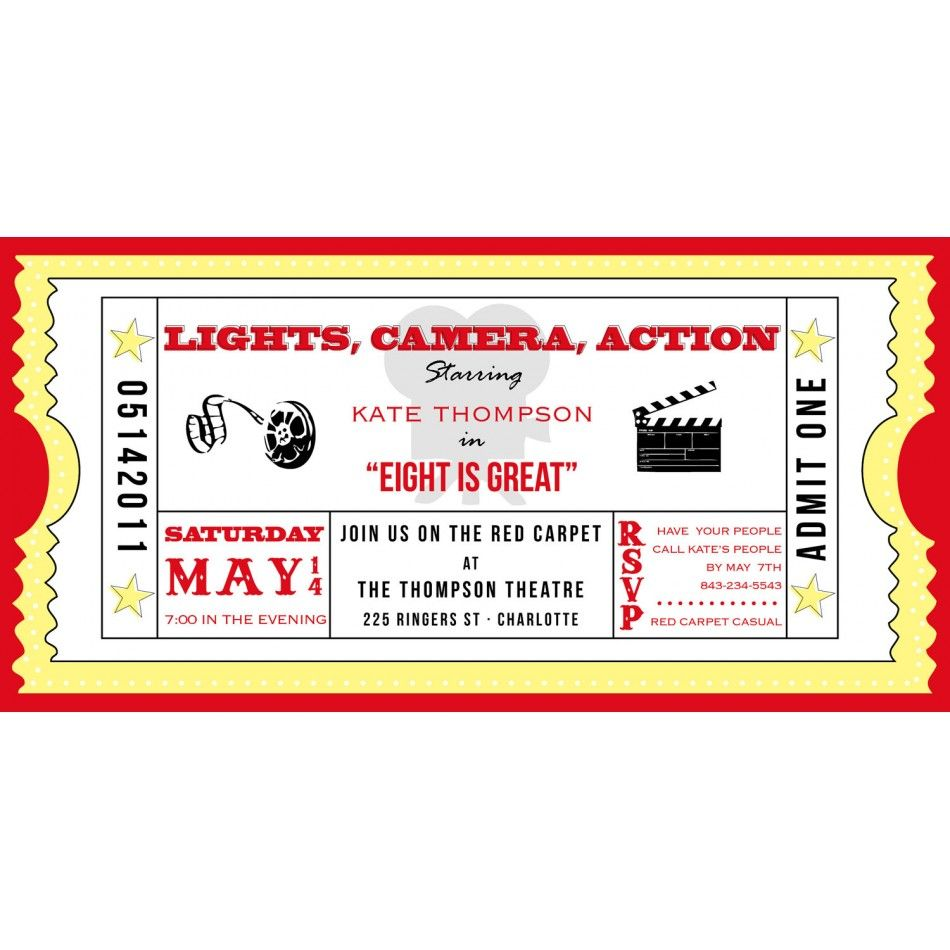 Movie Ticket Cinema DriveIn Birthday Party Printable Invitation – Theater Ticket Template