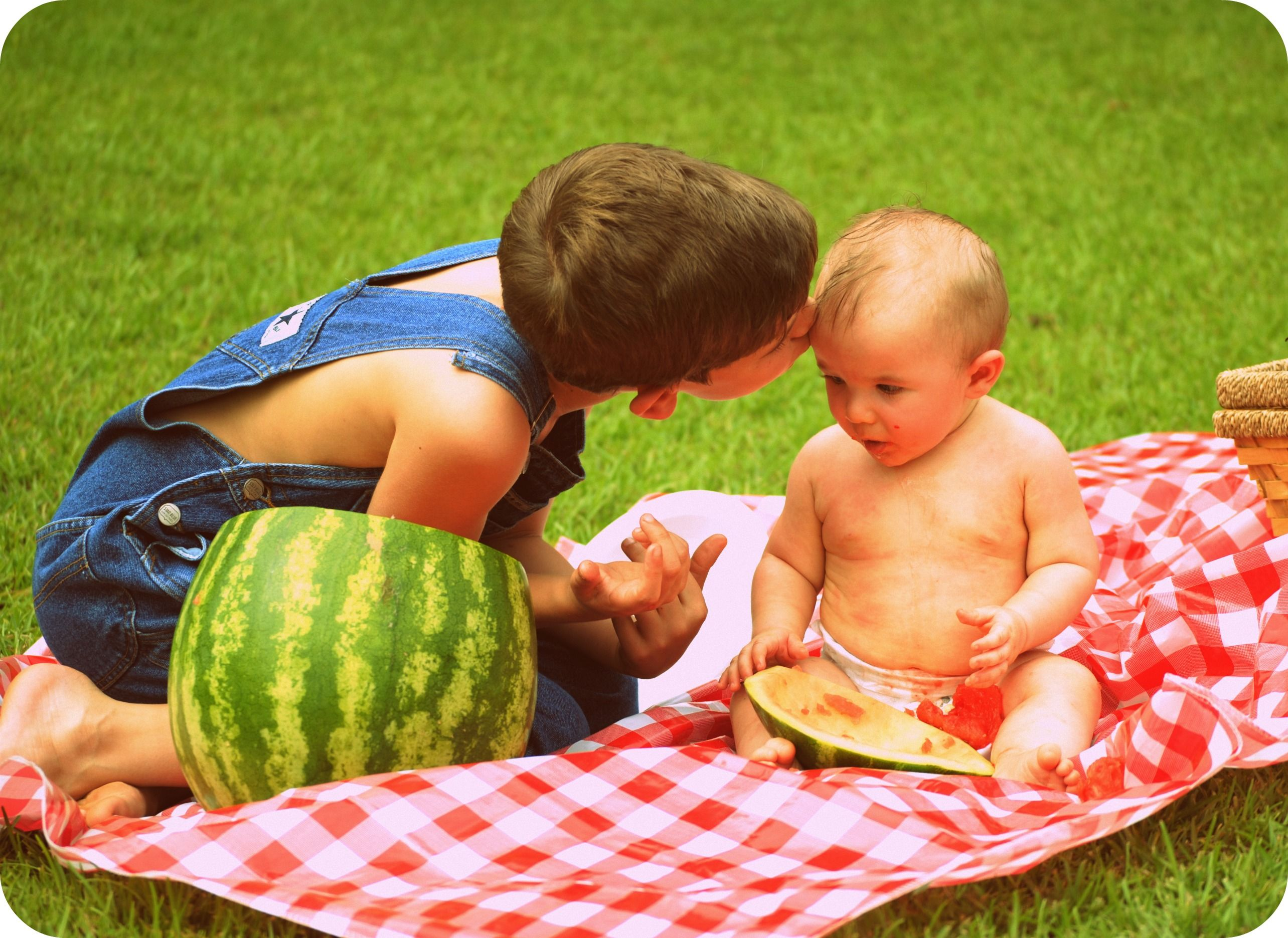 Brothers. Spring. Watermelon.
