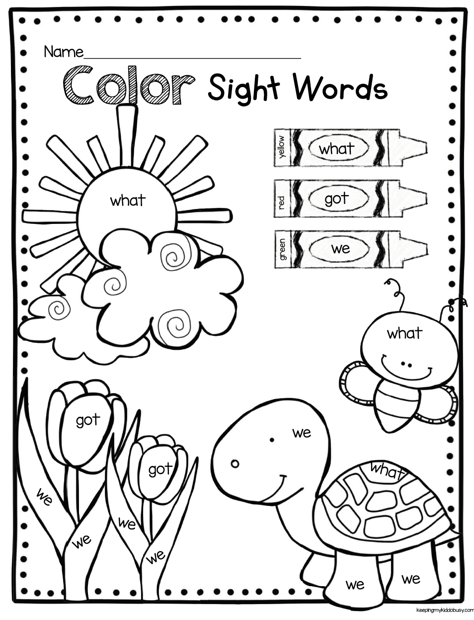 image regarding Color by Sight Word Printable titled Could inside Kindergarten - FREEBIES Math Recommendations Imprimibles