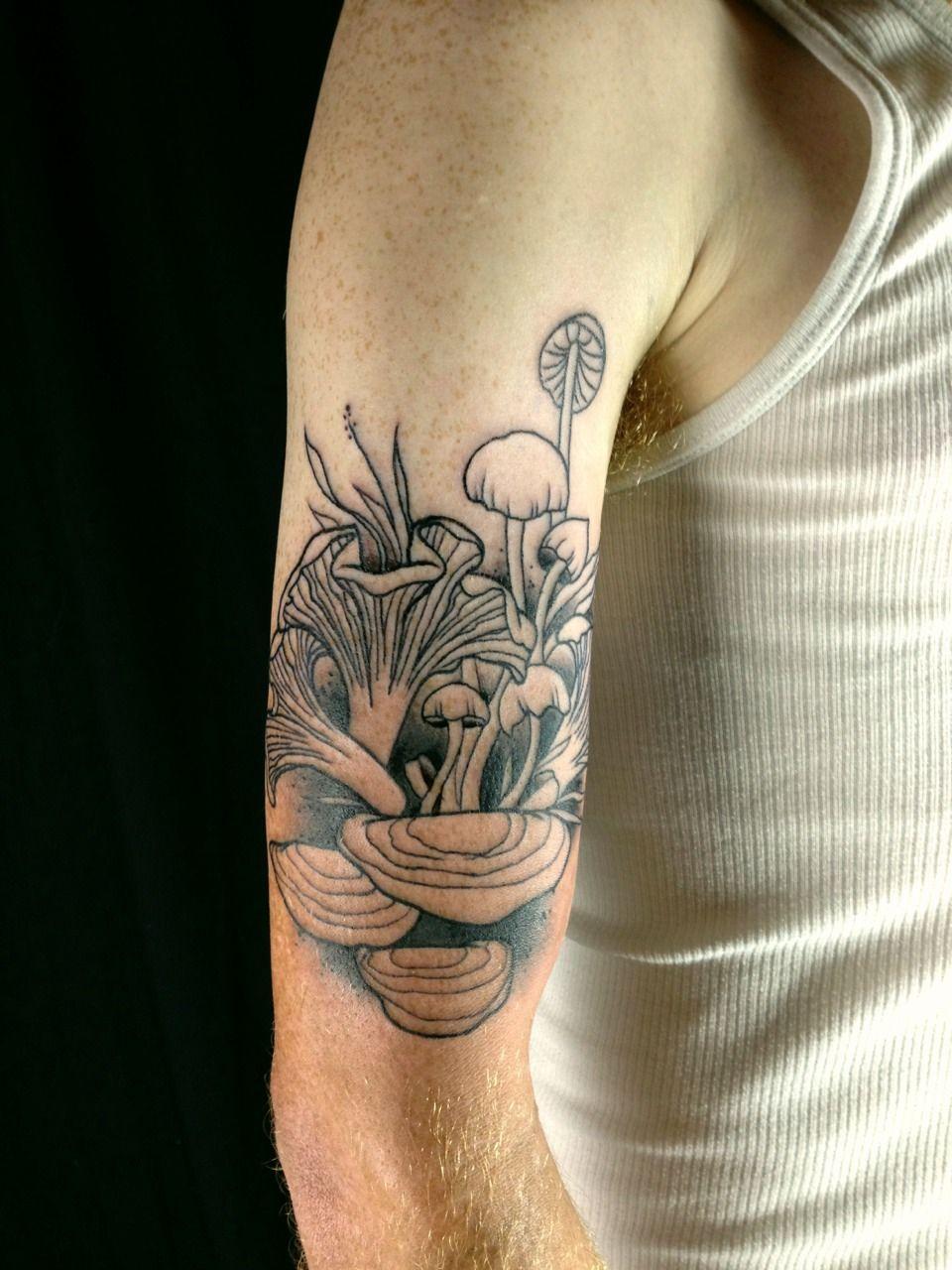 Rock Salt Nails In Progress Mushrooms For Jonah Tattoo