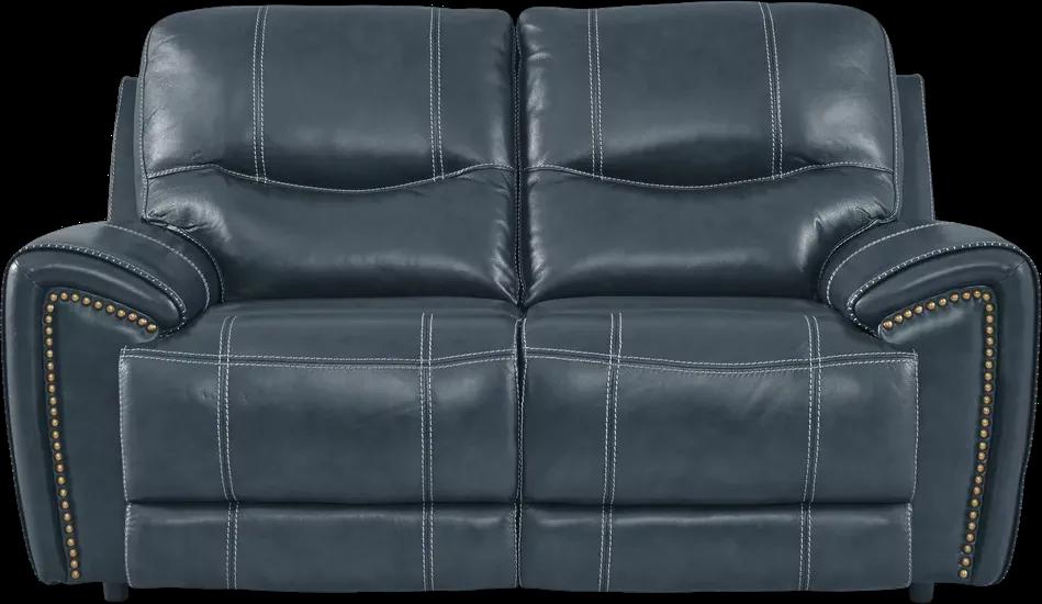 Italo Blue Leather Loveseat Leather Loveseat Love Seat Living Room Sets Furniture