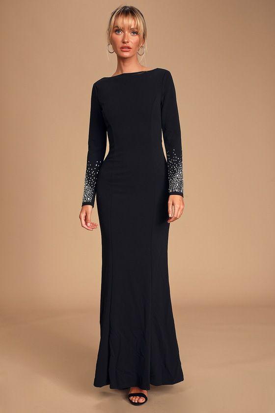Absolutely Perfect Black Rhinestone Backless Maxi Dress #blackmaxidress