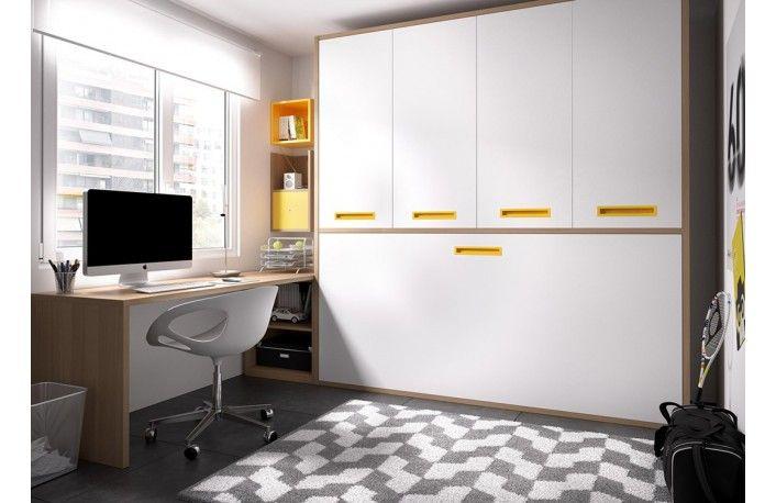Camas abatibles horizontales con escritorio y cajonera | Camas ...