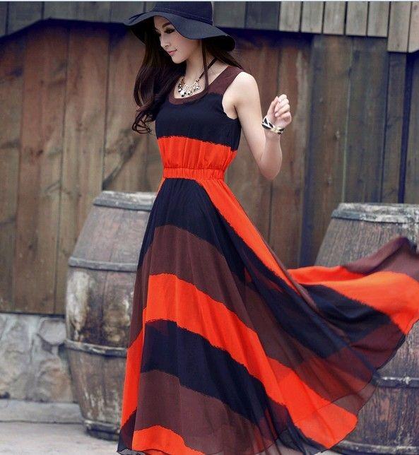 Summer Spliced Long Sleeveless Maxi Dress