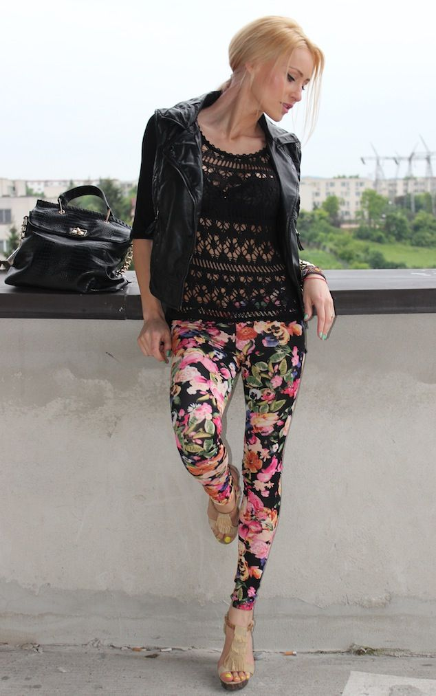 lace top with leather jacket and floral pants