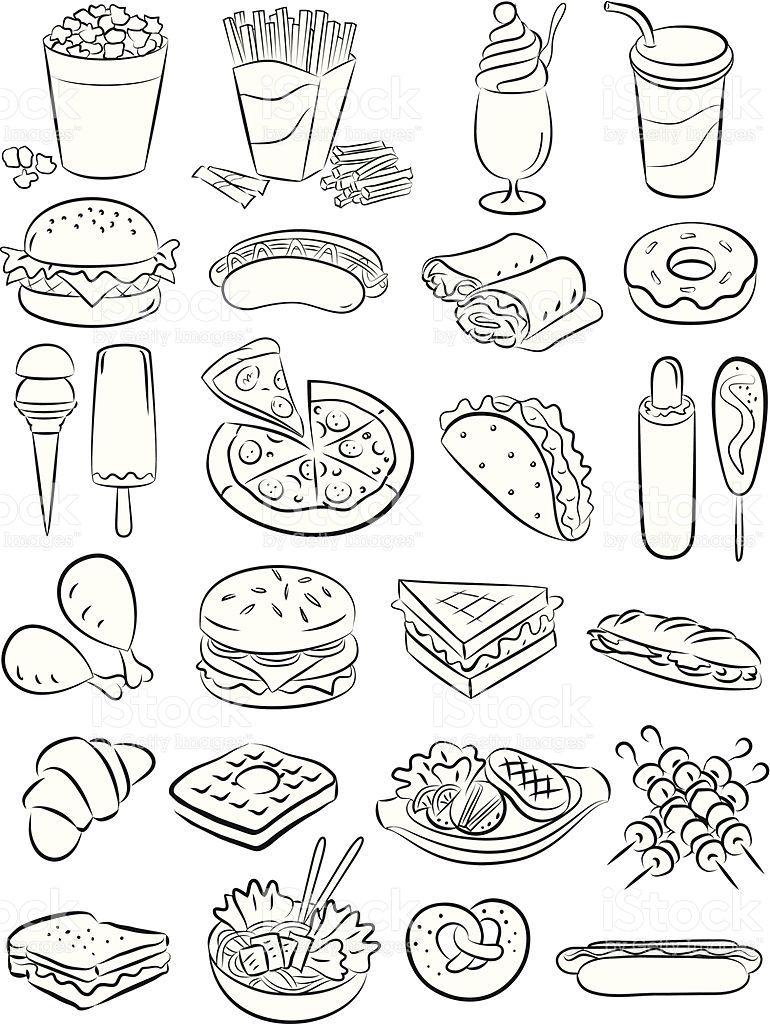 vector illustration of fast food collection in black and