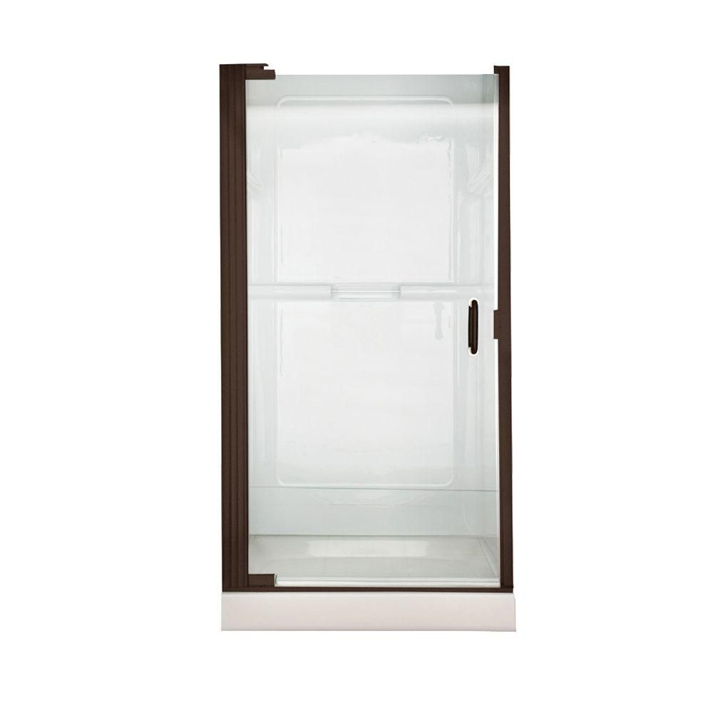 American Standard Euro 36 in. x 65 in. Semi-Framed Continuous Hinged Pivot Shower Door in Oil Rubbed Bronze with Clear Glass