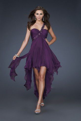 A-line One Shoulder Chiffon Short/Mini Sweet 16 Dress With Sashes And Ribbons at Msdressy