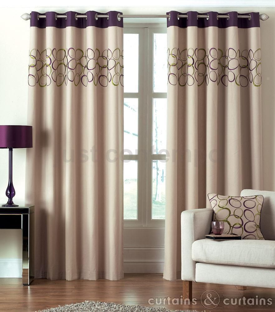 Hoops Aubergine Purple Eyelet Ring Top Curtain Green