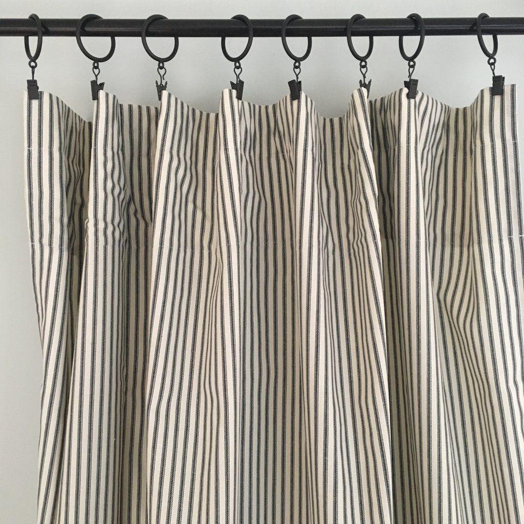 Black Ticking Stripe Curtain Panel In