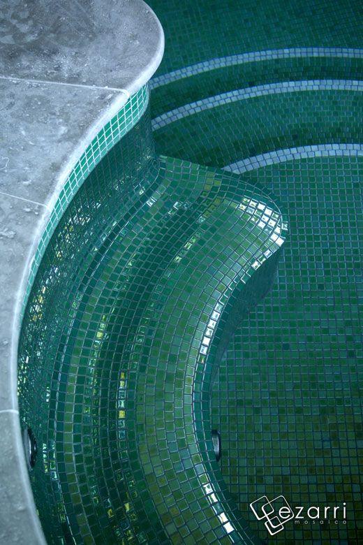 Mosaique Piscine Vert Metallique En Emaux De Verre Esmeralda Ezarri