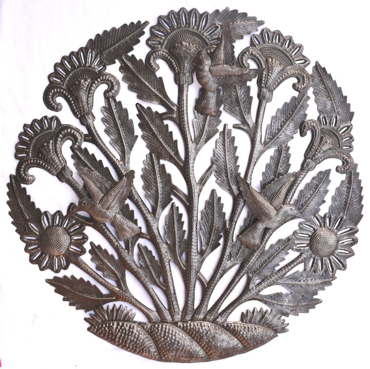Haitian metal tree of life wall art spring floral hummingbirds