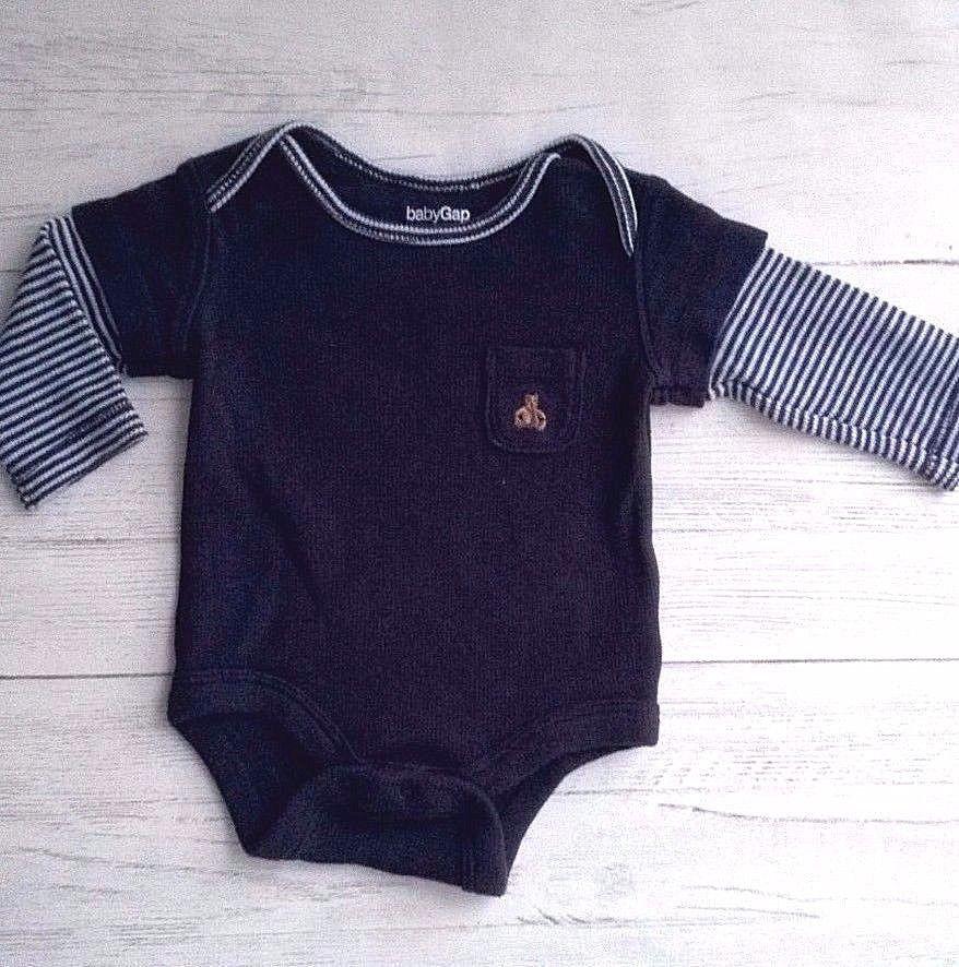 556b23b748 Gap Baby Boys Navy Vest BodySuit Top Long Sleeves Teddy Motif Pocket 0-3  months