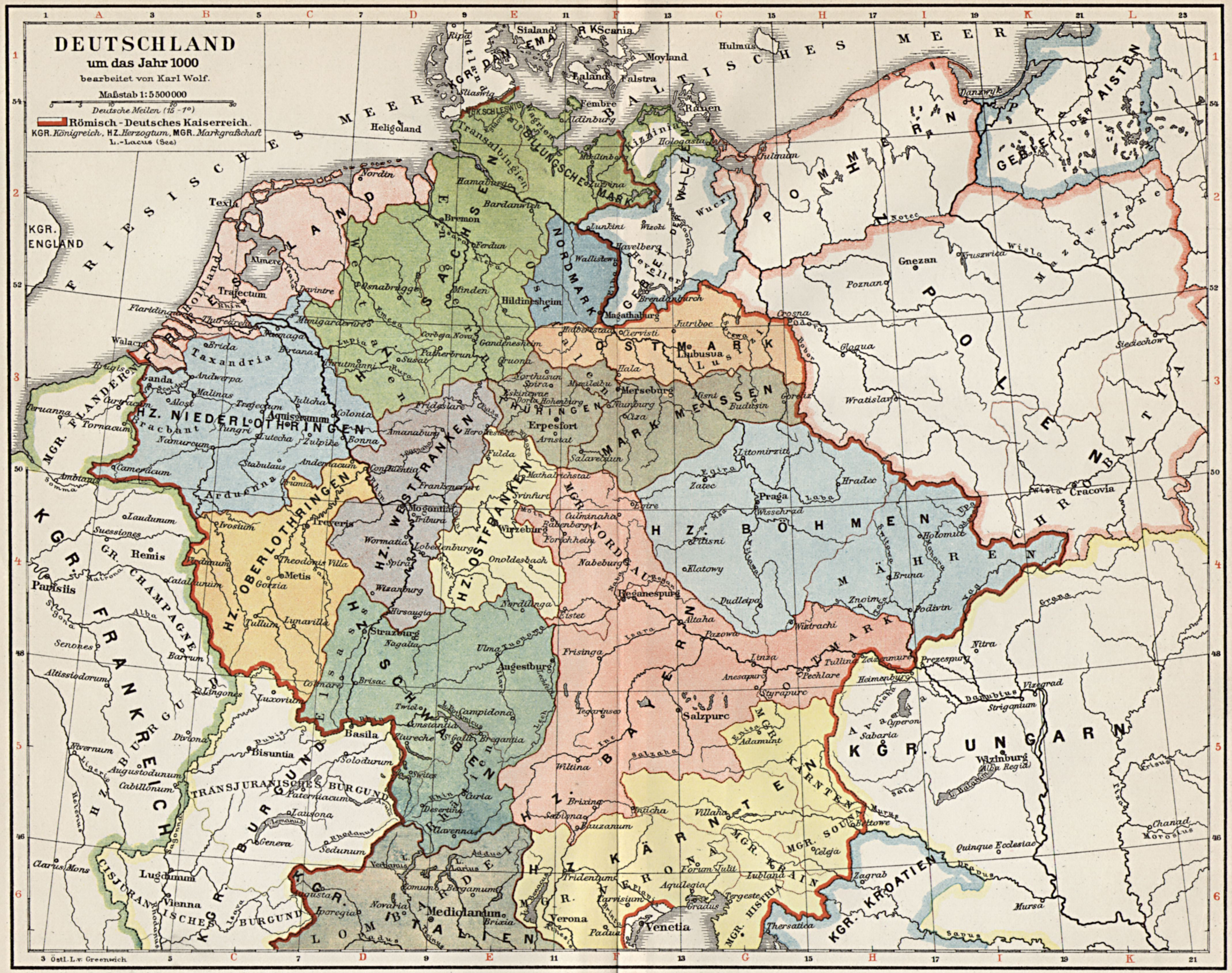 Landkarte Romisch Deutsche Reich C 1000 Landkarte Geschichte