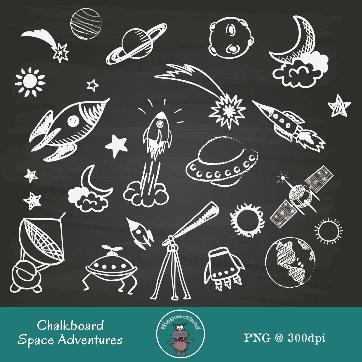 Chalkboard Space Adventures. Space Clipart. Outer by Hippoartland