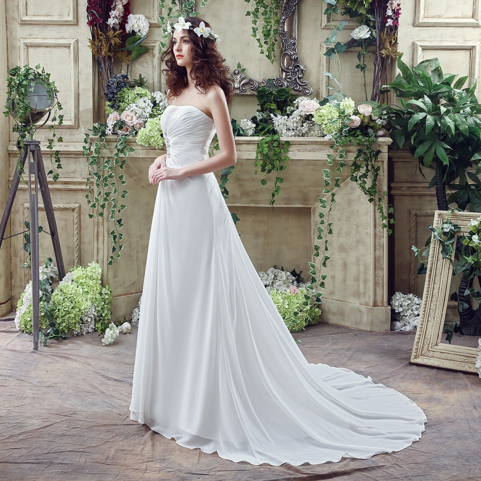Beach wedding party dresses  In Stock WhiteIvory Chiffon Beach Wedding Dress Gowns Us Size
