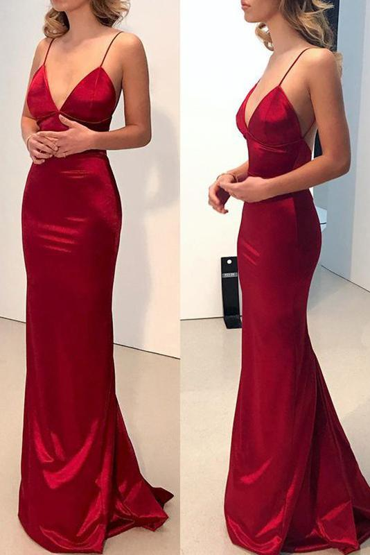 Photo of Red Sleeveless Sweetheart Satin Sheath Backless Ball Gown Evening Dress OP0877 …