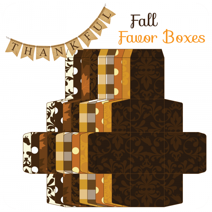 Autumn-03-Favour-Boxes; Click on the link for the free templates. http://whimsicallydetailed.com/autumn-favor-boxes/