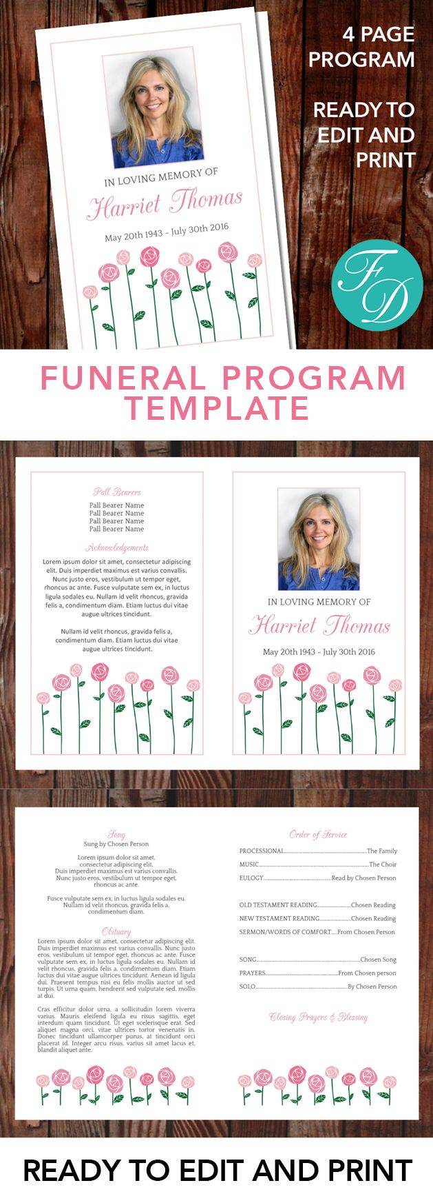 Pink Roses Printable Funeral Program ready to edit & print. Simply ...