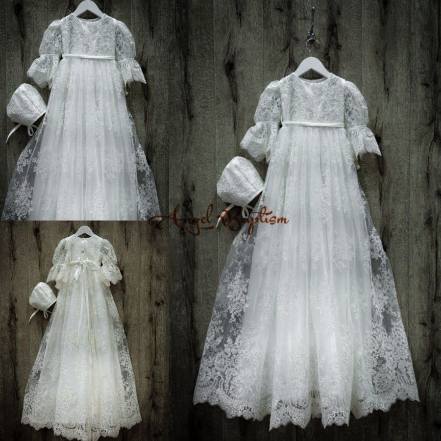 Click to buy ucuc beaded vintage long sleeves white ivory lace infant