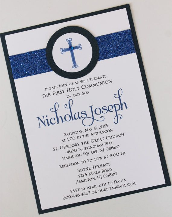 Boy Navy Blue Baptism-Communion Invitation by atouchofsunshine4 - baptism certificate
