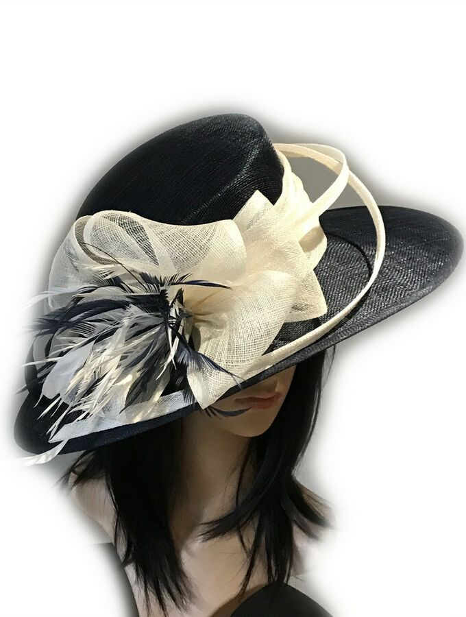 PETER BETTLEY BLACK WEDDING HAT MOTHER OF THE BRIDE FORMAL OCCASION RACES