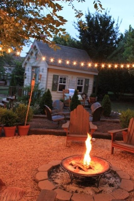 Fire pit and string of lights