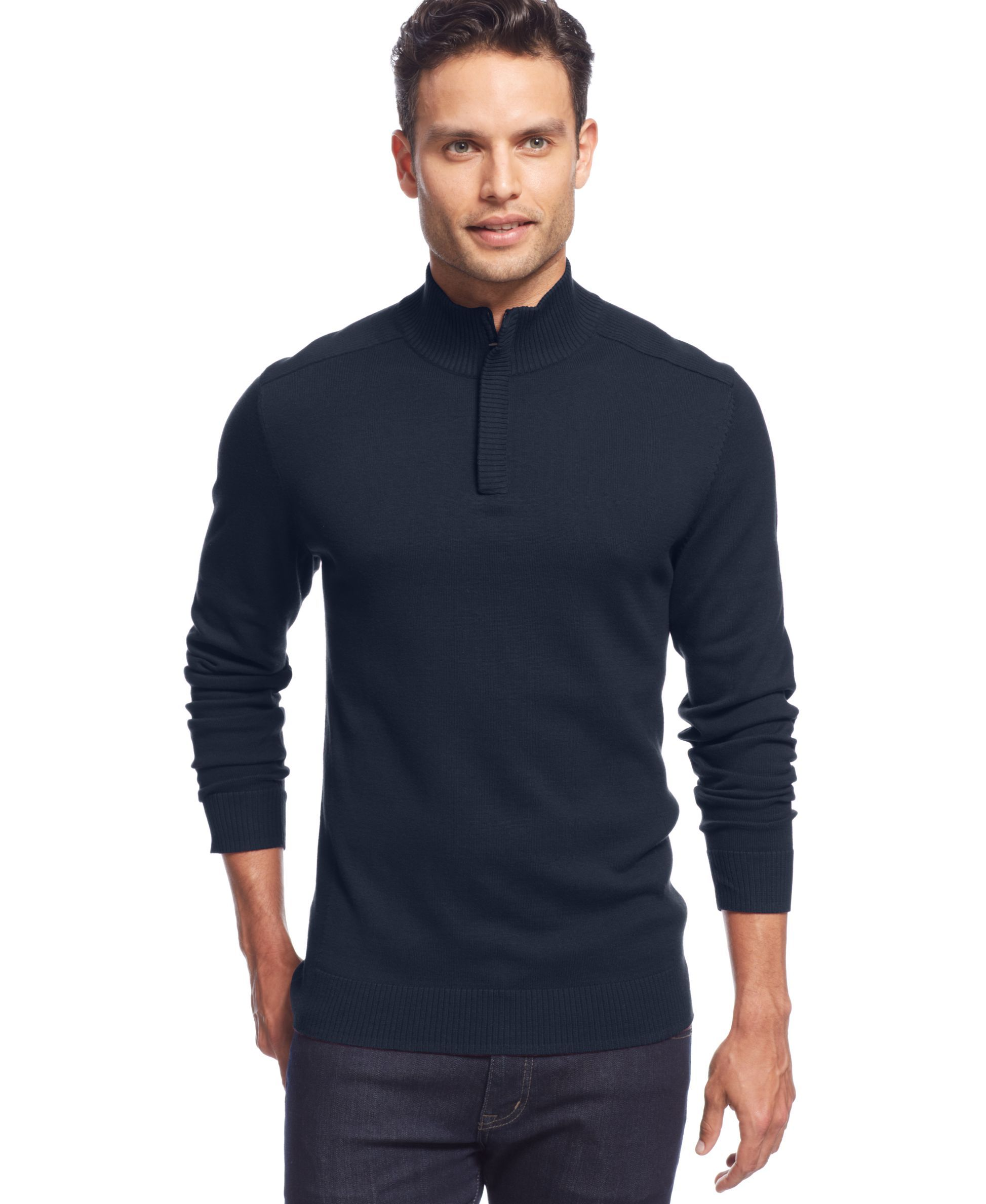 Alfani Red Solid Slim-Fit Quarter-Zip Sweater | Products ...