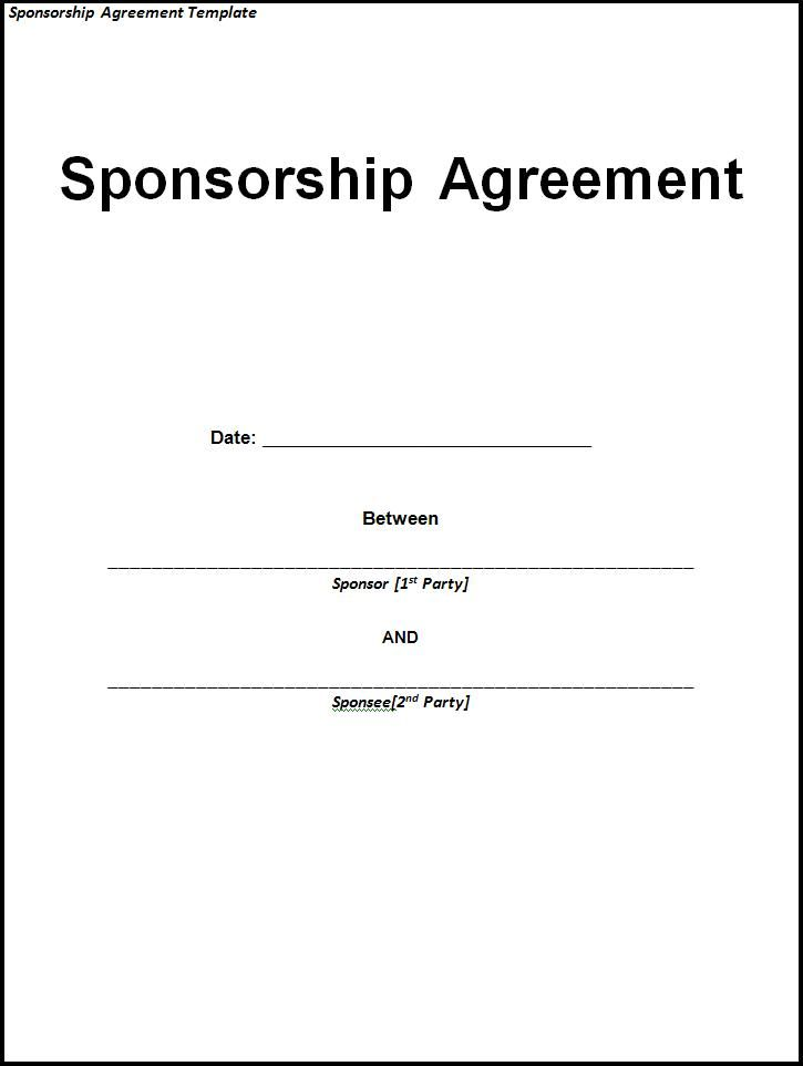 Delightful A Sponsorship Agreement Template Is Signed Between Two Parties; The Sponsor  At The Time Of Signing This Agreement Promises To Support The Next Person  For ...